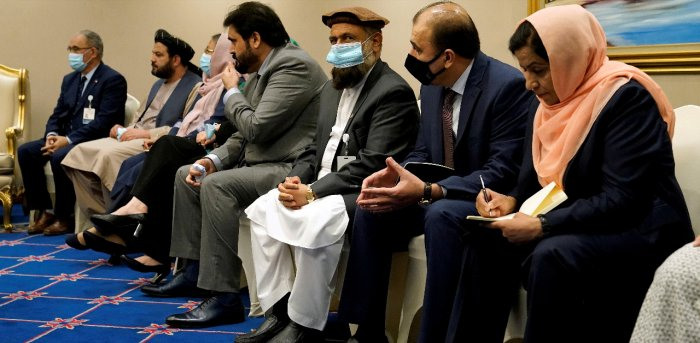 Members of peace negotiation team of the Islamic Republic of Afghanistan attend a meeting with U.S. Secretary of State Mike Pompeo. Credit: Reuters Photo