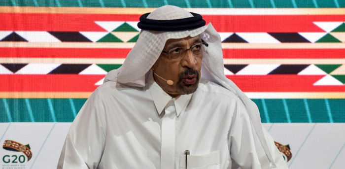 Saudi Minister of Investment Khalid Al-Falih talks to reporters during a media briefing during the virtual G20 summit. Credit: AFP Photo