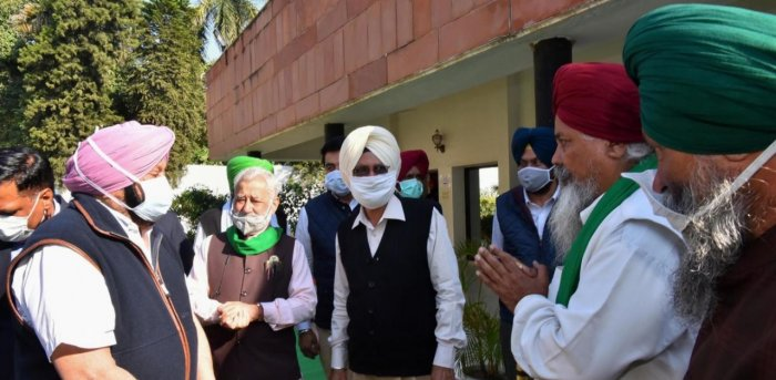 Punjab Chief Minister Captain Amarinder Singh during a meeting with representatives of various farmers' organisations, in Chandigarh. Credit: PTI.