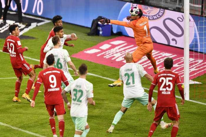 Bayern Munich's Kingsley Coman scores their first goal. Credit: Reuters