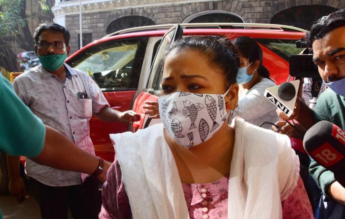 Bharti Singh after arriving at the NCB office. Credit: PTI