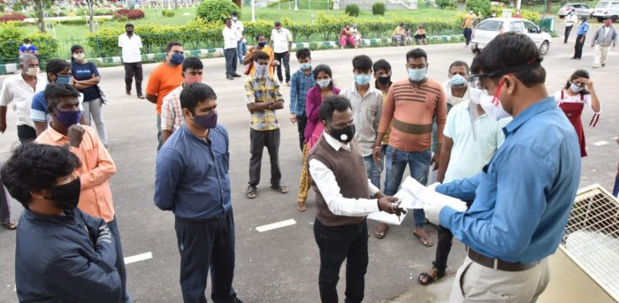 Health department officials distribute Covid-19 test reports, near the Rangacharlu Town Hall in Mysuru recently. Credit: DH file photo.