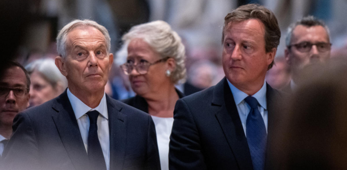 Britain's former Prime Ministers Tony Blair and David Cameron. Credit: Reuters Photo