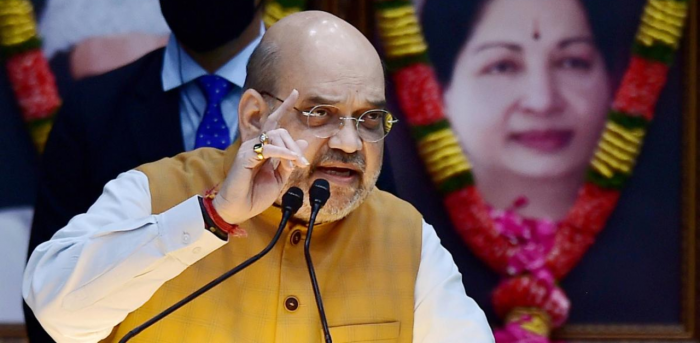 Union Home Minister Amit Shah addresses during programme organised to declare open the Thervoy Kandigai Reservoir (Chennai's fifth Reservoir) and lay the foundation stone for several infrastructure projects across the state of Tamil Nadu, in Chennai. Credit: PTI Photo
