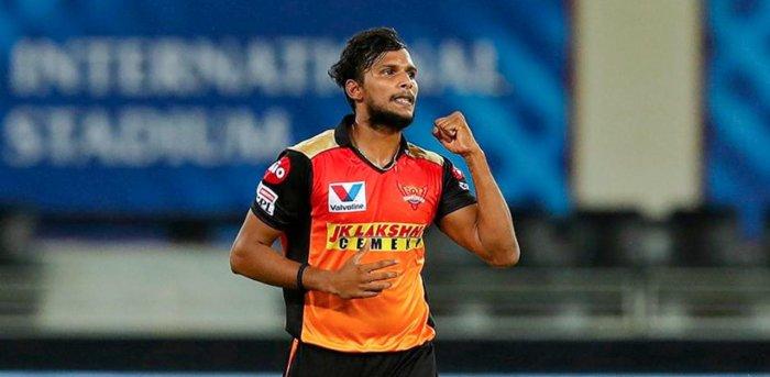 Sunrisers Hyderabad player T Natarajan. Credit: PTI Photo