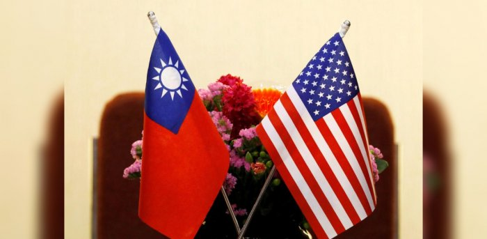 Flags of Taiwan and US are placed for a meeting in Taipei. Credit: Reuters Photo