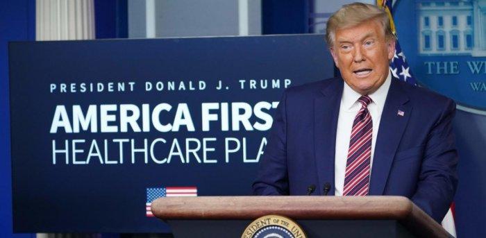 US President Donald Trump speaks on lowering prescription drug prices. Credit: AFP Photo