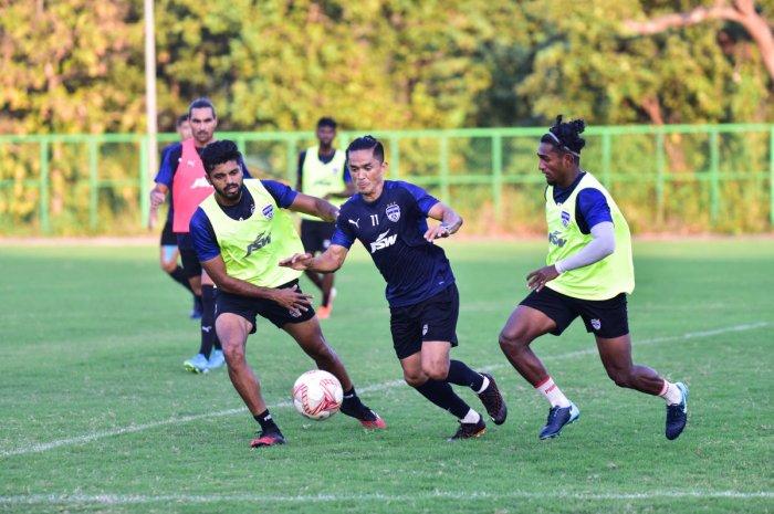 Bengaluru FC skipper Sunil Chhetri (centre) will once again be key for the club's hopes for silverware this season.