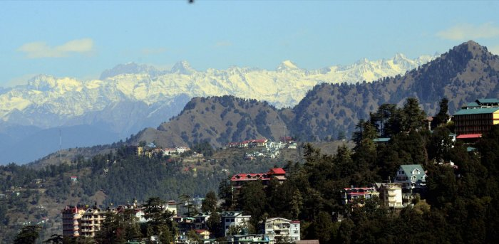 Snow covers the ranges of the northern Himalayan hill town of Shimla. Credit: PTI Photo
