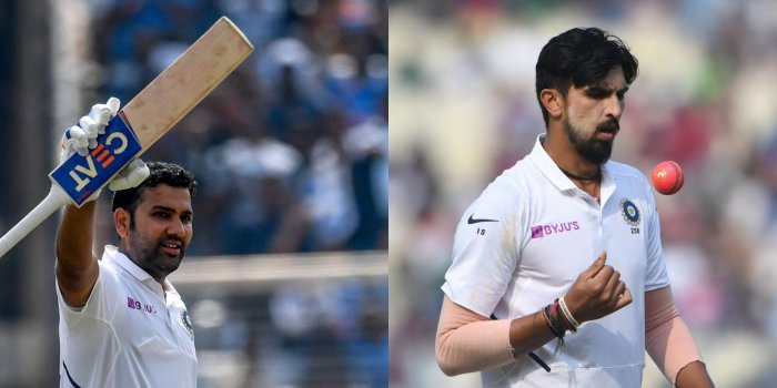 Rohit Sharma (L) and Ishant Sharma (R). Credit: AFP