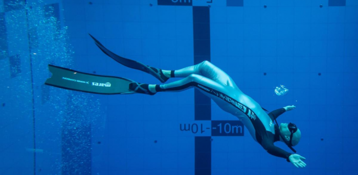 A diver is seen in the deepest pool in the world with 45.5-metre (150-foot) located in Mszczonow about 50 km from Warsaw. Credit: AFP Photo