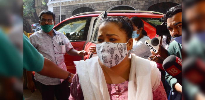 Comedian Bharti Singh arrives at the NCB office for questioning after a raid at her residence by the agency in a drug related case, in Mumbai, Saturday, Nov. 21, 2020. Credit: PTI Photo