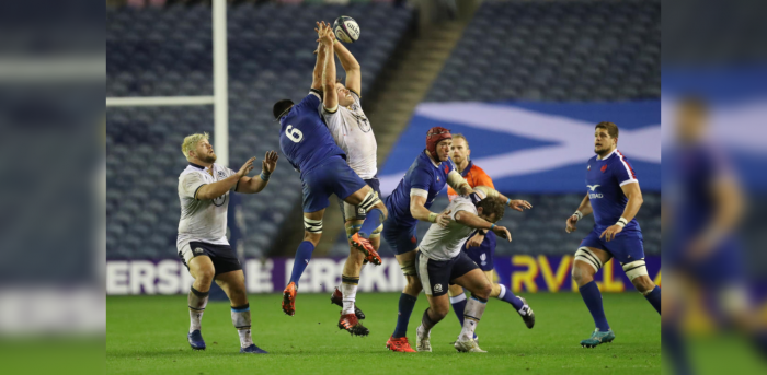 Scotland's Johnny Gray in action with France's Dylan Cretin. Credit: Reuters Photo