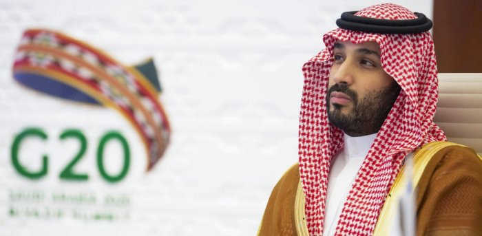 Saudi Crown Prince Mohammed bin Salman attending the G20 summit, held virtually due to the Covid-19. Credit: AFP Photo