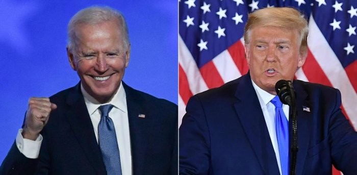 Democratic presidential nominee Joe Biden and US President Donald Trump. Credit: AFP Photo