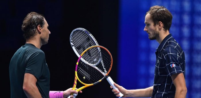 Russia's Daniil Medvedev (R) gestures to Spain's Rafael Nadal (L) after winning their men's singles semi-final match on day seven of the ATP World Tour Finals tennis tournament at the O2 Arena in London. Credit: AFP Photo