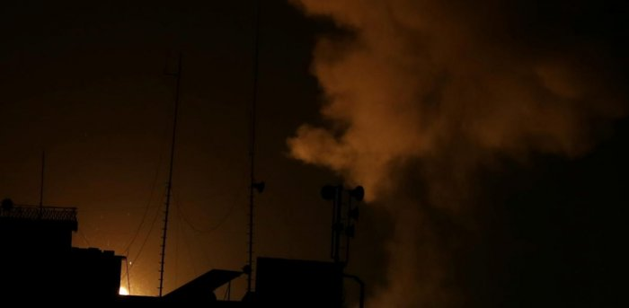 Smoke and flame are seen following an Israeli air strike in the southern Gaza Strip. Credit: Reuters Photo