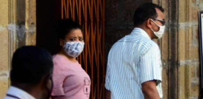 Comedian Bharti Singh is taken by Narcotics Control Bureau officers for medical examination. Credit: PTI Photo