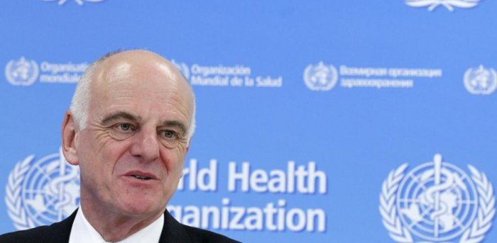 UN Secretary-General's Special Envoy for Ebola David Nabarro addresses the media on World Health Organization (WHO)'s health emergency preparedness and response capacities in Geneva. Credit: Reuters Photo