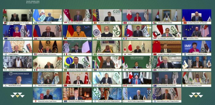 Riyadh:This handout photo provided by G20 Riyadh Summit, shows Saudi King Salman, center, and the rest of world leaders during a virtual G20 summit hosted by Saudi Arabia and held over video conference amid the Covid-19 pandemic, in Riyadh. Credit: AP/PTI.