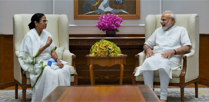 Prime Minister Narendra Modi during a meeting with West Bengal Chief Minister Mamata. Credit: PTI file photo.