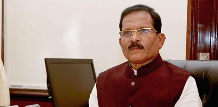 Minister of State (Independent Charge) of the Ministry of Ayurveda, Yoga and Naturopathy, Unani, Siddha and Homoeopathy (AYUSH) Shripad Yesso Naik, at his office in New Delhi. Credit: PTI Photo