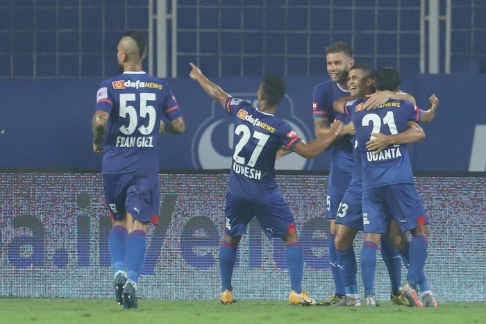 Bengaluru FC's Cleiton Silva (second from right) celebrates with team-mates after scoring against FC Goa during their ISL game at the Fatorda Stadium on Sunday. Sportzpics