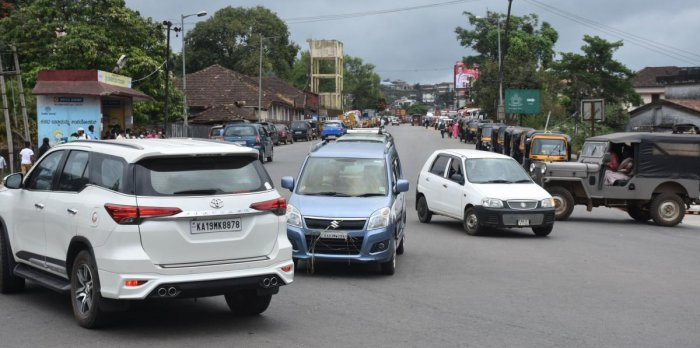 Movement of vehicles was as usual in Madikeri on Saturday.