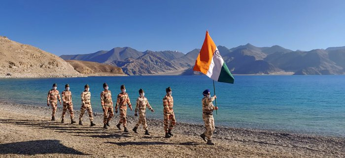 ITBP personnel on the banks of Pangong Tso, in Ladakh. Representative image/Credit: PTI File Photo