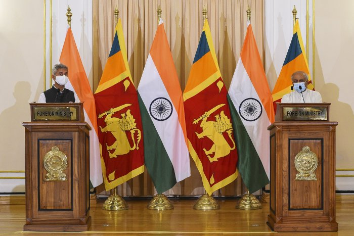 Subrahmanyam Jaishankar (R) speaks during a joint press briefing with Sri Lanka's Foreign Minister Dinesh Gunawardena in Colombo. Credit: AFP Photo
