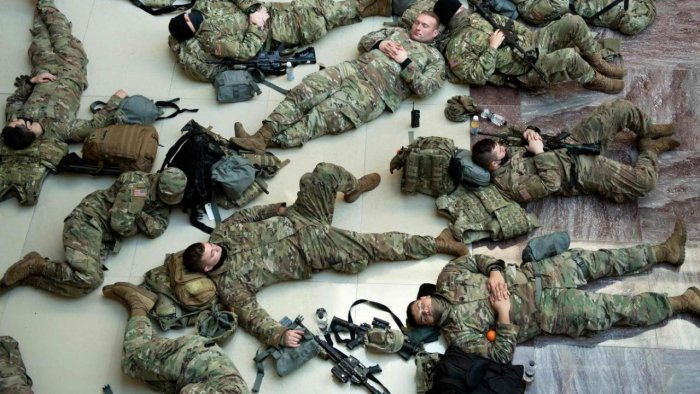 National Guard troops were told to sleep in a parking garage  Deccan Herald