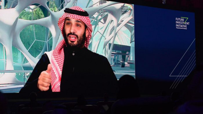 Saudi Crown Prince Mohammed bin Salman speaks during the Future Investment Initiative (FII) conference in a virtual session in the capital Riyadh. Credit: AFP file photo.