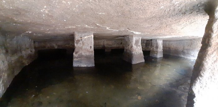 Inside the cave you can see a tank of8 feetby 2 feet and rock-cut pillars. Credit: Bhujang Bobade