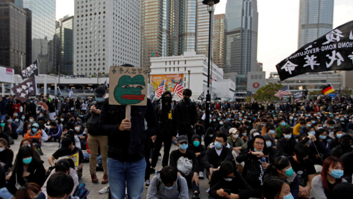 Anti-government protesters demonstrate during a protest at Edinburgh Place in Hong Kong, China, January 12, 2020. Credit: Reuters Photo