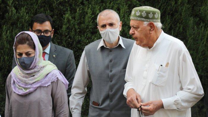 Members of People's Alliance for Gupkar Declaration Farooq Abdullah, Mehbooba Mufti, Omar Abdullah and others. Credit: PTI File Photo