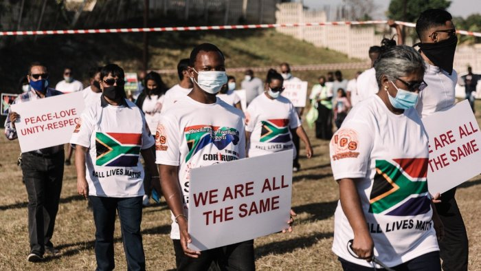 Residents of the township of Phoenix, north of Durban hold a #ALL Lives Matter peacefull protest rally. Credit: AFP Photo