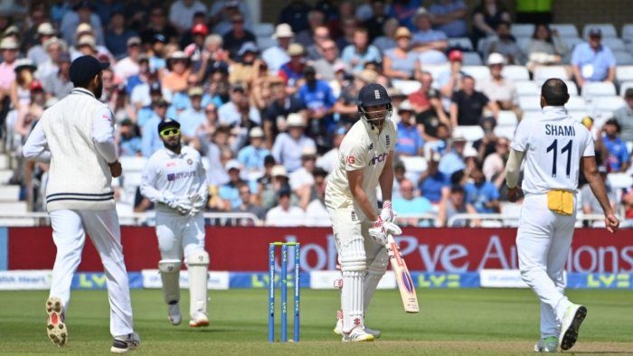 England's Dominic Sibley (C) loses his wicket to India's Mohammed Shami for 18 on the first day of the first Test cricket match of the India Tour of England 2021 between England and India at the Trent Bridge cricket ground in Nottingham, Nottinghamshire. Credit: AFP Photo