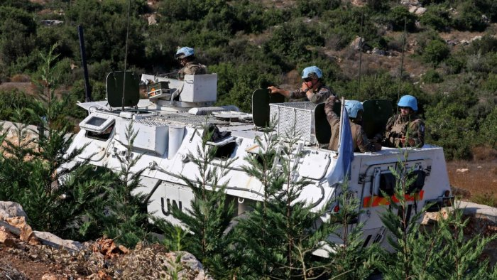 A United Nations Interim Force in Lebanon (UNIFIL) convoy patrols the road between the southern Lebanese towns of Naqura and Shamaa near the border with Israel. Credit: AFP Photo