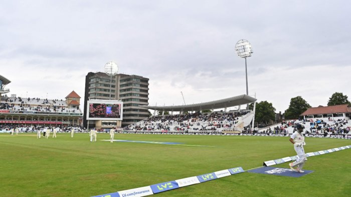 The players leave the field a second brief restart following delay in play for bad light and rain on the second day of the first cricket Test match of the India Tour of England 2021. Credit: AFP Photo