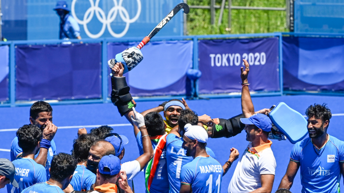 The Indian hockey team rejoices after winning the bronze medal. Credit: PTI Photo