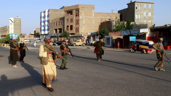 Private militia loyal to Ismail Khan, the former Mujahideen commander patrols after security forces took back control of parts of Herat city following fighting between Taliban and Afghan security forces in Herat province. Credit: AP Photo