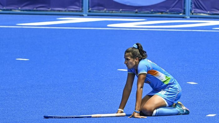 India's captain Rani Rampal (L) reacts after losing their women's field hockey bronze medal match against Great Britain, at the 2020 Summer Olympics, in Tokyo, Friday, Aug. 6, 2021. India lost the match 3-4. Credit: PTI Photo