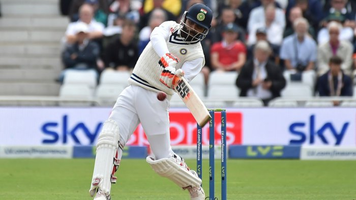 Ravindra Jadeja plays a shot during the third day of first test cricket match between England and India, at Trent Bridge in Nottingham, England. Credit: AP/PTI Photo