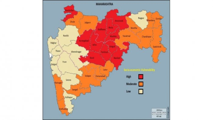 A map highlighting the district-wise socioeconomic vulnerability in Maharashtra. Credit: Special Arrangment