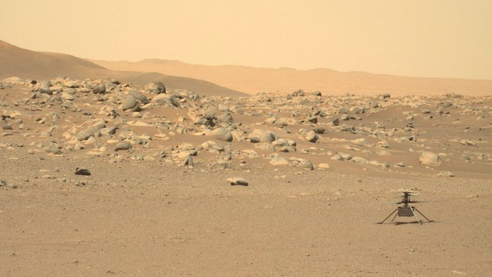 NASA's Ingenuity Mars Helicopter(R) captured by Mars Perseverance rover. Credit: AFP Photo