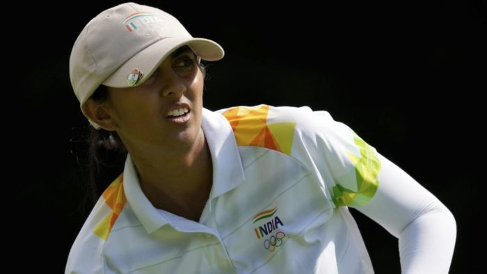 Aditi Ashok, of India, watches her tee shot on the third hole during the final round of the women's golf event at the 2020 Summer Olympics, Saturday. Credit: AP/PTI Photo
