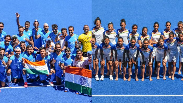 The Indian men's (L) and women's hockey teams. Credit: PTI Photos
