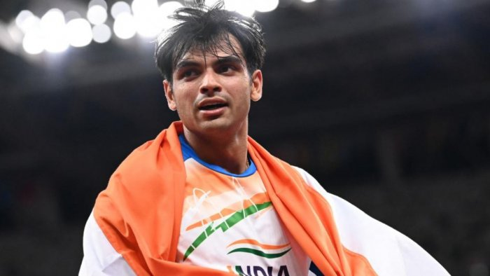 India's Neeraj Chopra celebrates after winning he men's javelin throw final during the Tokyo 2020 Olympic Games at the Olympic Stadium in Tokyo on August 7, 2021. Credit: AFP Photo