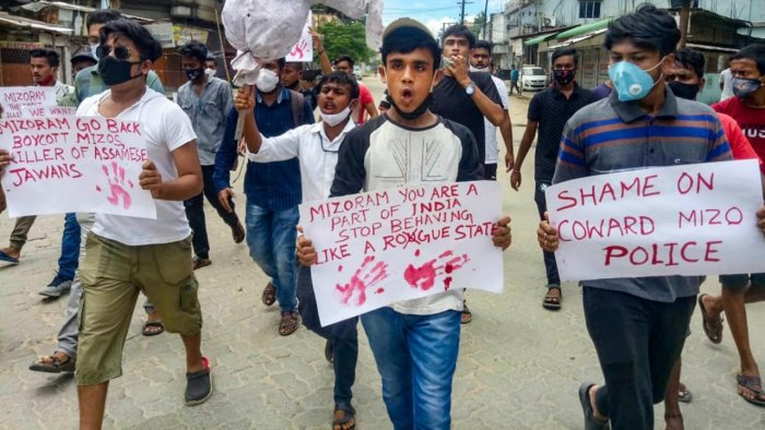 Locals carry an effigy of Mizoram Chief Minister Zoramthanga stage a protest in front of Mizoram House, against the killing of five Assam Police personnel and one civilian in Monday's Assam-Mizoram border clash, at Lailapur in Cachar district, Wednesday, July 28, 2021. Credit: PTI Photo