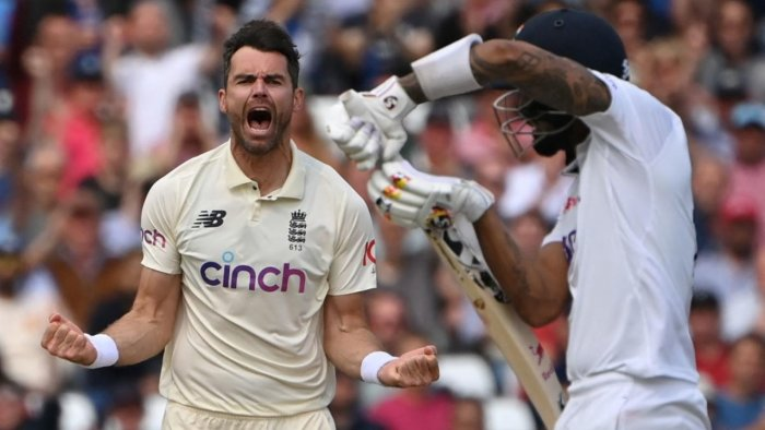 England's James Anderson (L) celebrates taking the wicket of India's KL Rahul for 84 on the third day of the first cricket Test match of the India Tour of England 2021 between England and India at the Trent Bridge cricket ground in Nottingham, central England, on August 6, 2021. Credit: AFP Photo